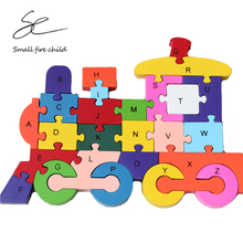 2017 New early education inspire baby's imagination and creativity toys colorful wooden english letters train jigsaw puzzle(China)