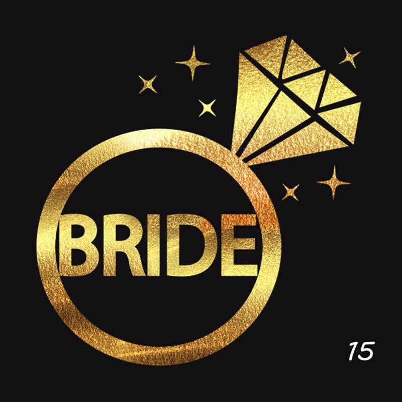 5Pcs/lot Flash Bride Tribe Temporary Tattoo Sticker Bachelor Party Bridesmaid Wedding Party Body Art Glitter Tattoo Decals Y2 3