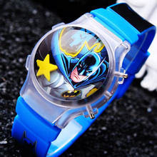 1PC Cute Batman LED Boys Cartoon Watches Funny Children Digital Sports Watch With Flashing Light Free Shipping Kids Wristwatches(China)