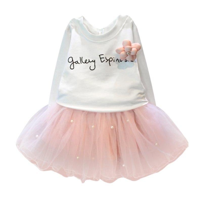 Toddler Girl Clothes Set Long Sleeve T-Shirt+Mesh Skirt Suit Baby 2 pcs Children Clothing<br><br>Aliexpress