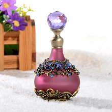 25ml Vintage Retro Perfume Bottle Purple Empty Refillable Metal Glass Crystal Stopper Gift Crystal Cluster Clear Stopper Gift