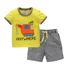 fashion children clothing set  Cute toddler kids Cotton cartoon pattern baby boy sets short-sleeved and Plaid shorts