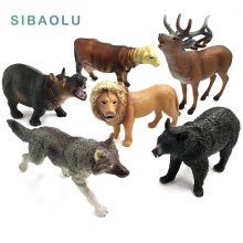 Zoo simulation animal models figures Bear Deer Tiger Leopard Lion Wolf Elephant Horses Cow statue Animation Figurine Plastic Toy(China)