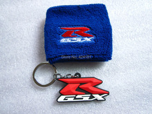 BLUE GSXR Motorcycle Front Brake Reservoir Sock Oil Fluid Tank Cover Sleeve + 3D Rubber  Keychain Keyring Key Chain Ring