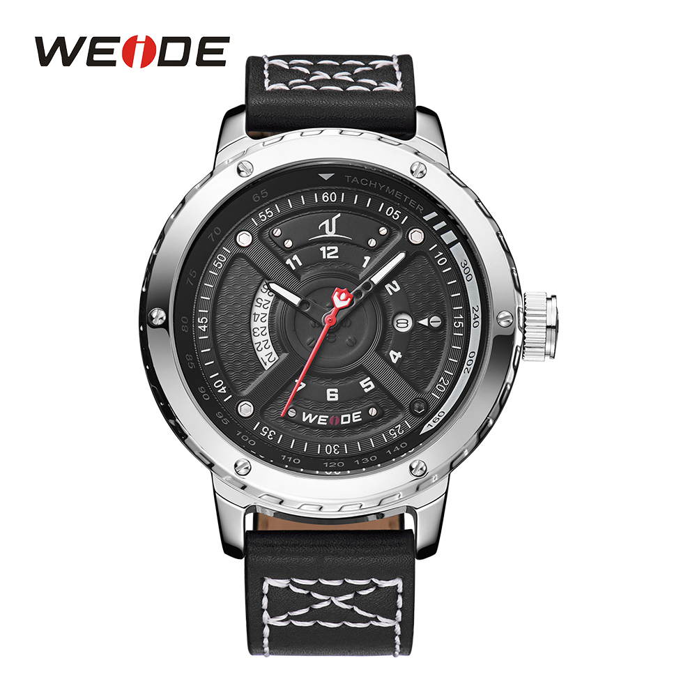 WEIDE Mens Sport Wristwatch Calendar Dual Date Quartz Movement Analog Round Dial Black Leather Strap Buckle Hardlex Watches<br>