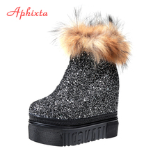 Aphixta Platform Natural Real Fur Winter Women Boots High Quality Solid Zip High heel Ladies Shoes Leather Hairs Fashion Boots(China)