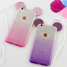 Luxury 3D Mickey Mouse Crystal Glitter Soft TPU Case For iPhone 6 6s 6Plus 5 5s SE Bling Rhinestone Protect Phone Covers Fundas