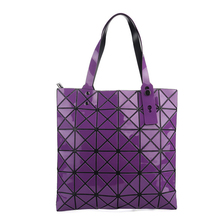 New japan style geometric rhombus patchwork fold handbags women folding shoulder bag Triangle mosaic square tote handle bags(China)