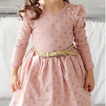 Girl Kid's Elegant Winter Autumn Long Sleeve Dress Lace Brim With Belt Decor Princess Outfit 3 to 8 Years Children Clothing Y