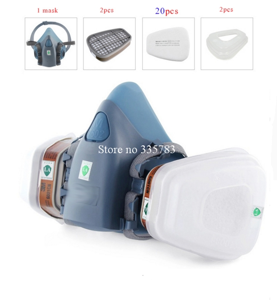 High quality IIIM 7502 respirator gas mask +20 PCS 5N11 filter cotton +2PCS 6001 filter brand gas mask paint chemical gas mask<br><br>Aliexpress