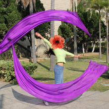 New Arrival Belly Dance Silk Veil Poi Streamer Poi 1pair= 2pcs silk veil + 2pcs poi-chain-ball flowy silk S/M/L/XL(China)