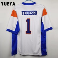 "YUEYA ""Blue Mountain State"" Movie Jerseys #1 Harmon Tedesco American Football Jersey Mens Cheap White S-3XL"