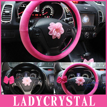 Ladycrystal 15 Inch Velvet Car Steering Wheel Covers For Toyota For Honda For Kia Soft Car Steering Wheel Cover