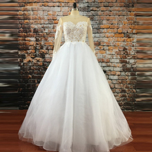 Sexy Backless Ball Gown Wedding Dress 2017 Long Sleeves Vestido De Novia Lace Bridal Dresses Princess Tulle Wedding Gowns