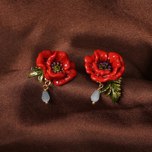 France Les Nereides Enamel Glaze Copper Romantic Red Peony Flower Earrings Ring Necklace Bracelet Women Jewelry Sets(China)