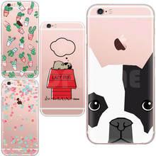 Charming Tricolor Dot Bulldog Cactus Phone Case For Apple iphone 5 5s 6 6s Plus Transparent Clear TPU Silicon Crystal Fundas Gel