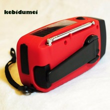 kebidumei Mini Solar Radio Hand Crank Self Powered 3 LED Flashlight AM/FM/WB Radio Waterproof Radio For Camping Traveling(China)