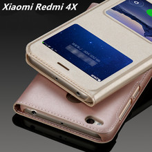 Xiaomi Redmi 4X Case Leather Flip Cover Luxury Capa Coque Xiao Mi Red Rice 4X Double Window Couro Fundas 4 X Phone Bag Cases