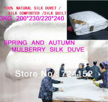 Spring and Autumn duvet 100% mulberry silk quilt/duvet/ comforter every size weight about 3kg Queen 200*230/ KING220*240cm
