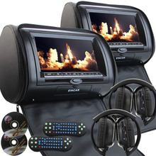 "Pair of 9"" Car Headrest cd DVD Player with TFT LCD Digital Screen Auto Monitor support USB IR FM Transmitter+two 2 IR Headphone(China)"