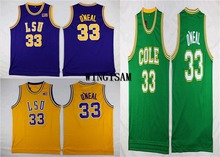 WINGISAM Shaquille O'Neal #33 LSU Shaq Oneal Retro Throwback Stitched College Basketball Jersey Embroidery Logos