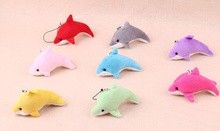 Cute Little 5CM Dolphin Plush Toy Doll ; Mix Colors Dolphin String Pendant Decor Plush Toy , Kid's Little Gift Toy