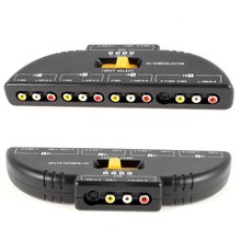 4-Way Audio Video AV RCA Switch Game Selector Box Splitter Black