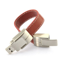 free shipping bulk cheap 4gb 8gb 16gb 32gb wearable leather usb flash drive in metal bracelet