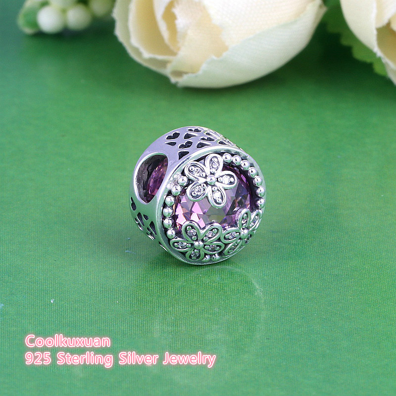 New 925 Sterling Silver Dazzling Daisy Meadow Charm Beads With Clear CZ Fit Orig