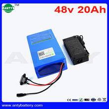 High Capacity Electric Bike Battery 48V 20Ah 1500W Lithium Battery with 54.6v 2A Charger Built in 30A BMS eBike Battery 48v