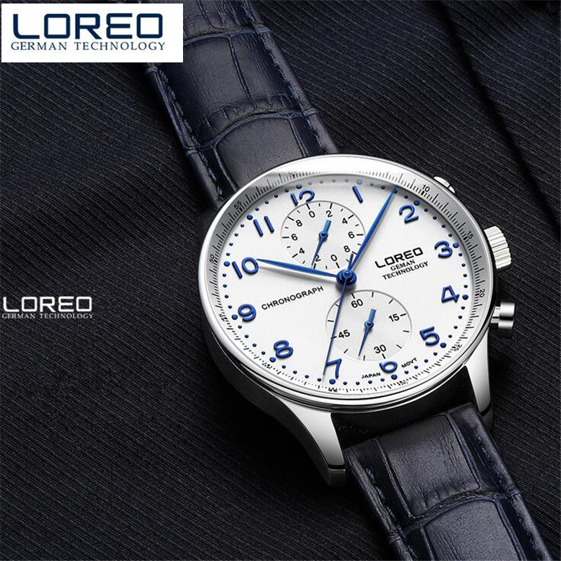 LOREO Luxury Brand Watches Male Fashion Casual Quartz Watch Leather Strap Men Business Wristwatch Man Relogio Masculino O89<br>
