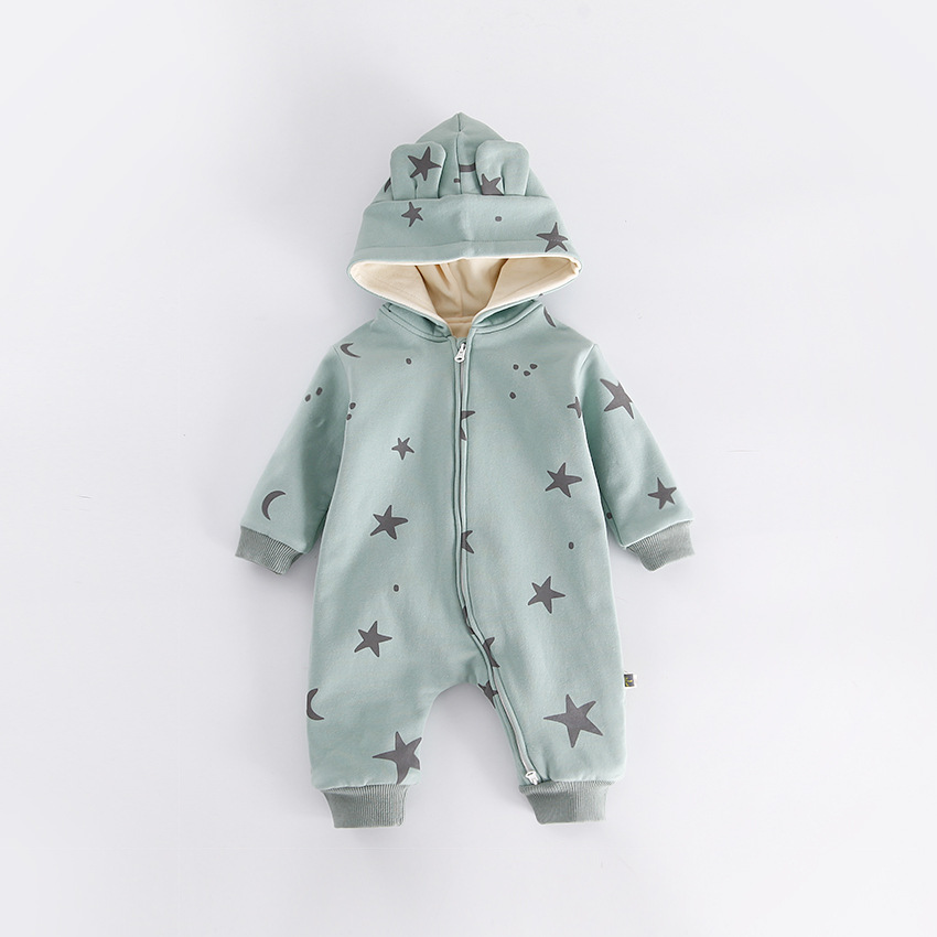 peninsula baby winter Star Moon printing Newborn Boys Girls hooded rompers thicken cotton warm baby jumpsuit Outerwear clothes<br>