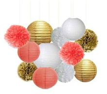 Set of 12 Mixed Gold Coral White Party Tissue Pom Poms Paper Lantern Baby Shower Birthday Wedding Neutral Hanging Decoration