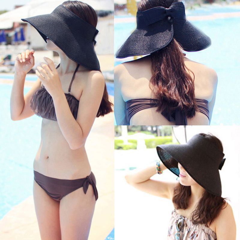 Visor-Cap Straw Uv-Protection Adjustable Beach Women Summer Sun-Hat Bowknot Wide-Brim title=