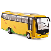 Liangyou luxury bus Beijing Hong Kong green sound and light back to the alloy model children's toys G2 bulk(China)