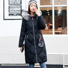 KUYOMENS 2017 New Plus Size 5XL Winter Coat Women Slim Waist X-Long Jacket Coat Fur Collar warm Parka Fashion cotton Coat(China)
