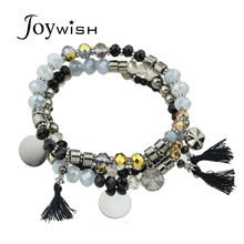 3pcs/set Boho Chic Indian Jewelry Colorful Beads Coin Tassel Charm Bracelets for Women Multilayer Bracelet Femme