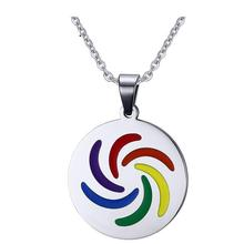 Iftec 2017 Lgbt Community Pride Round Rainbow Colors Pendant Jewelry Fashion Jewelry High Polished Vintage Accessory
