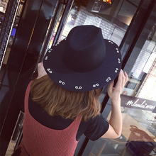 HT1315 Men Women Wool Felt Winter Hats with Rings Western Style Wide Brim Fedoras Solid Black Red Grey Jazz Church Trilby Hats(China)