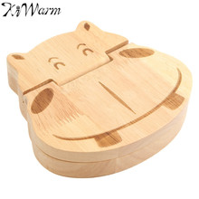 KiWarm Hippo Pattern Wooden Boxes Milk Tooth Lanugo Storage Boxes for Kids Safe Permanent Preservation Boxes Home Decor Crafts