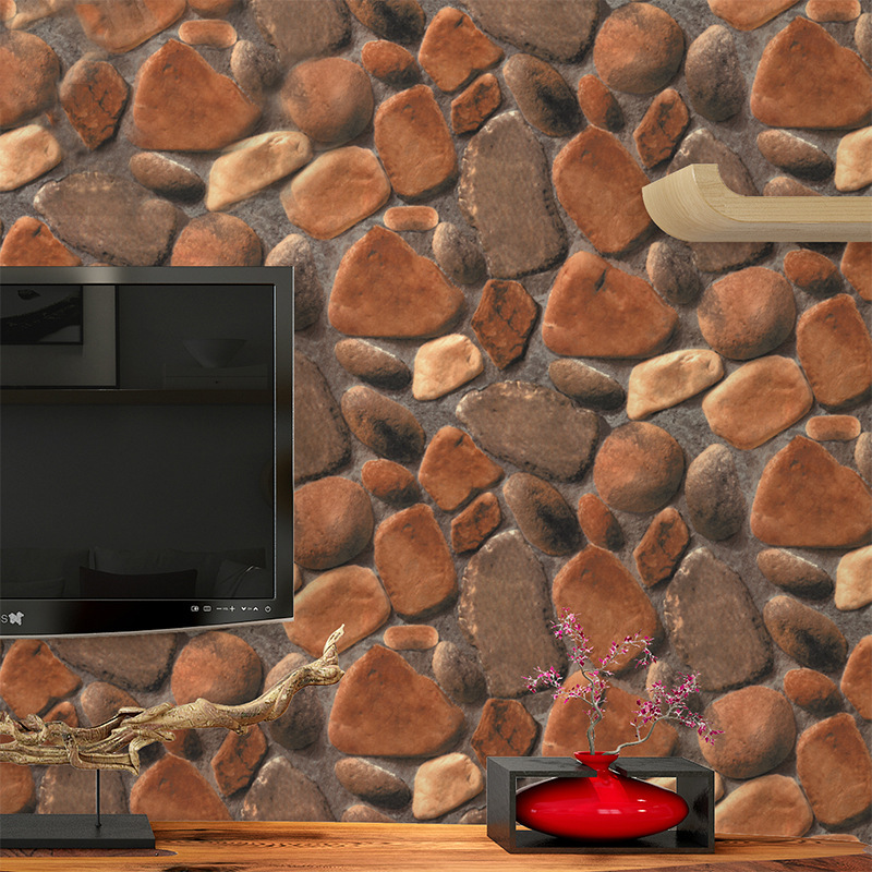 3D Stereoscopic Rock Stone Pattern Wallpaper PVC Waterproof Cobblestone Living Room TV Background Decor Wallpaper For Walls Roll<br>