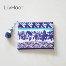 LilyHood 2017 Handmade Vintage Coin Purse Female Retro Chic China Old Burlap Fabric Cellphone Cards Fringe Mini Small Clutch Bag(China)