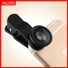 H&LOO Fish eye lens Universal Clip 5 in 1 smartphone camera lens wide angle macro lente para celular For iPhone Samsung Xiaomi(China)