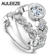 Unique Leaf Moissanites Wedding Sets Fine Jewelry 14K White Gold Rings Bezel Lab Grown Diamond Ring Art Deco Wedding Ring Set