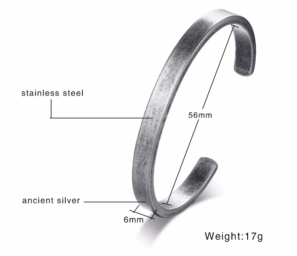 Modernist Mens Vintage Cuff Bangle Antique Silver Color Solid Bracelet Stainless steel Men's Women's Jewelry Pulseira Braslet Masculina 13