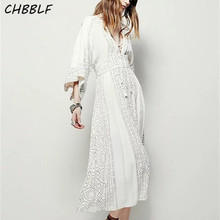 Spring New European Bohemia Fairy Vestidos Three Quarter Sleeve V-neck Lady Long Dress Bohemian Dress Wdd8162