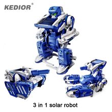 3 in 1 Educational DIY Solar Powered Robot Kit Assembling Science Toys for Children Transforming Tank Scorpion Electric Toy Gift