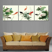 Framed 3 Tableau Peinture Large Chinese Oil Paintings Koi Fish Lotus Wall Art Picture quadros Feng Shui Home Decor A1084