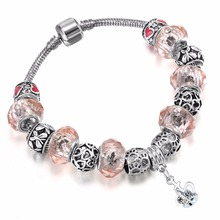 Kinitial 1Pcs Beach Heart Bead Bracelet Hollow Out Heart Flower Bracelets&Bangles For Women Fashion Murano Glass Bead Jewelry(China)