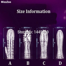 Buy MizzZee Reusable condoms Cockring Penis sleeve Cock ring Adult sex toys men Male Chastity device Penis cage Anillo pene
